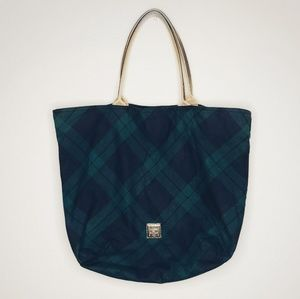 Dooney & Bourke Navy & Green Tartan Plaid Tote